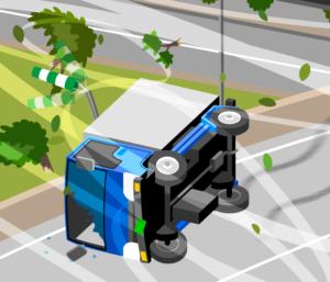 風で横転したトラック
